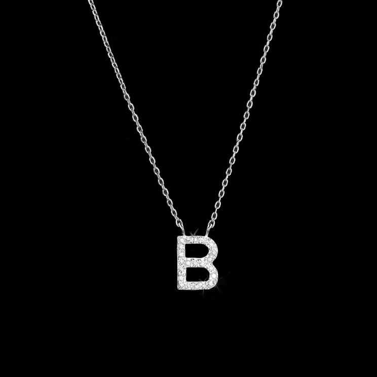 Diamond Initial Necklace - B