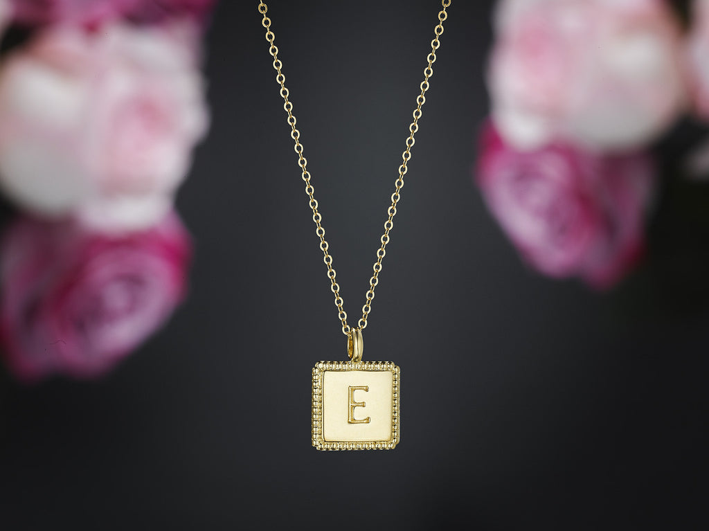 square charm necklace gold
