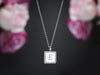 square charm necklace silver