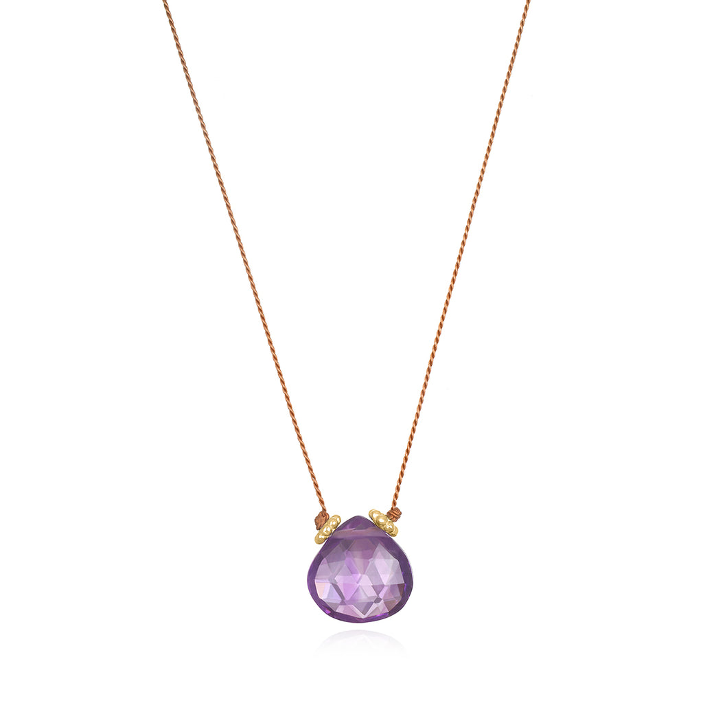 Catherine Silk Necklace-Amethyst Brown