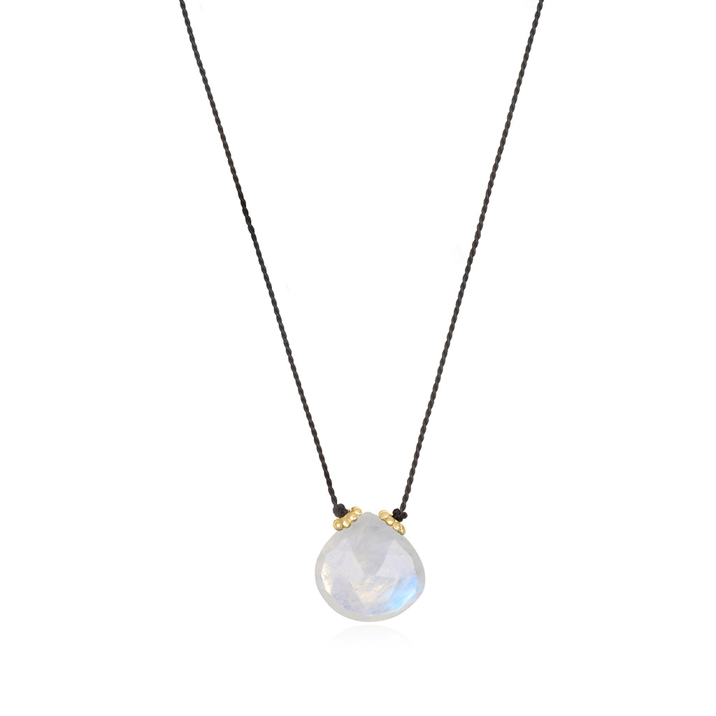 Catherine Silk Necklace-Moonstone Black