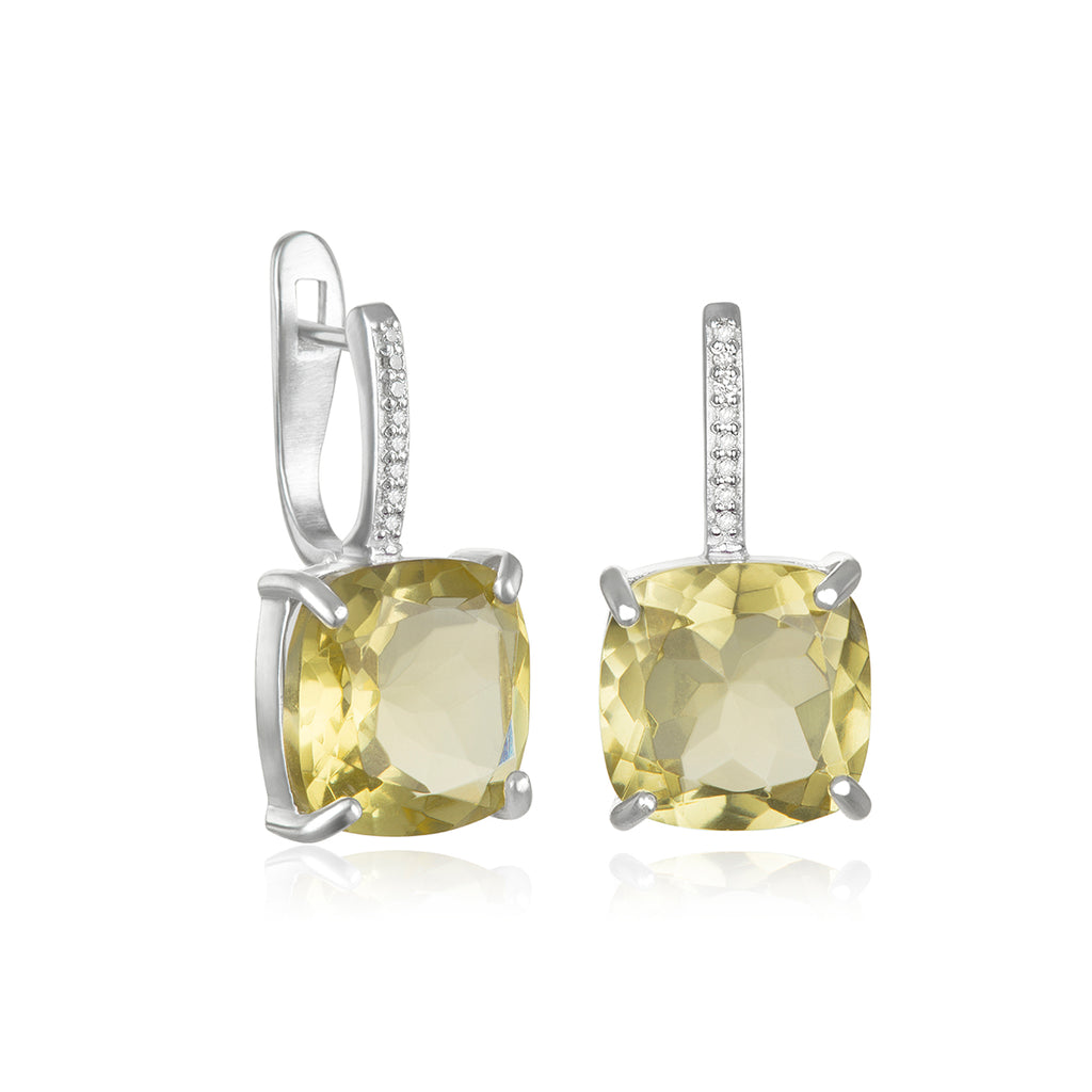 Charleston Diamond Cushion Cut Earring-Lemon Quartz Silver