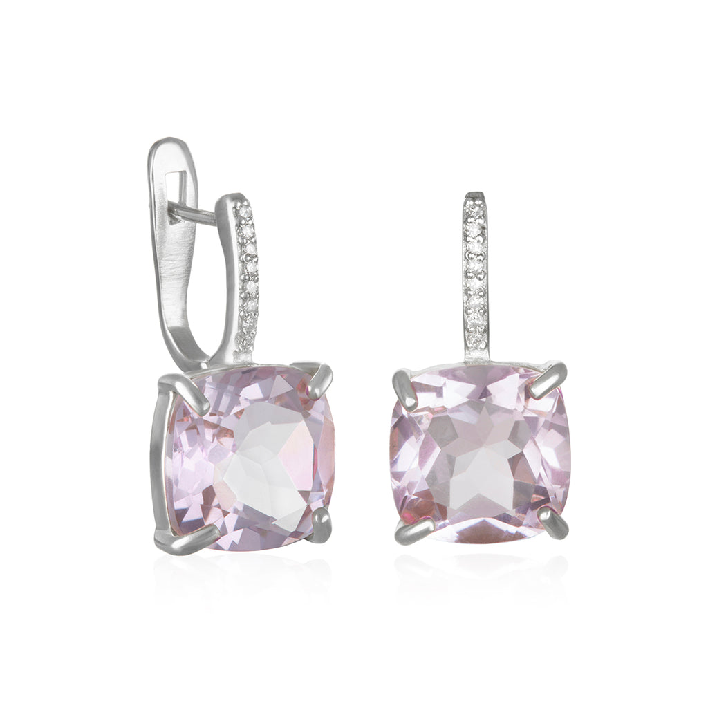 Charleston Diamond Cushion Cut Earring-Pink Amethyst Silver