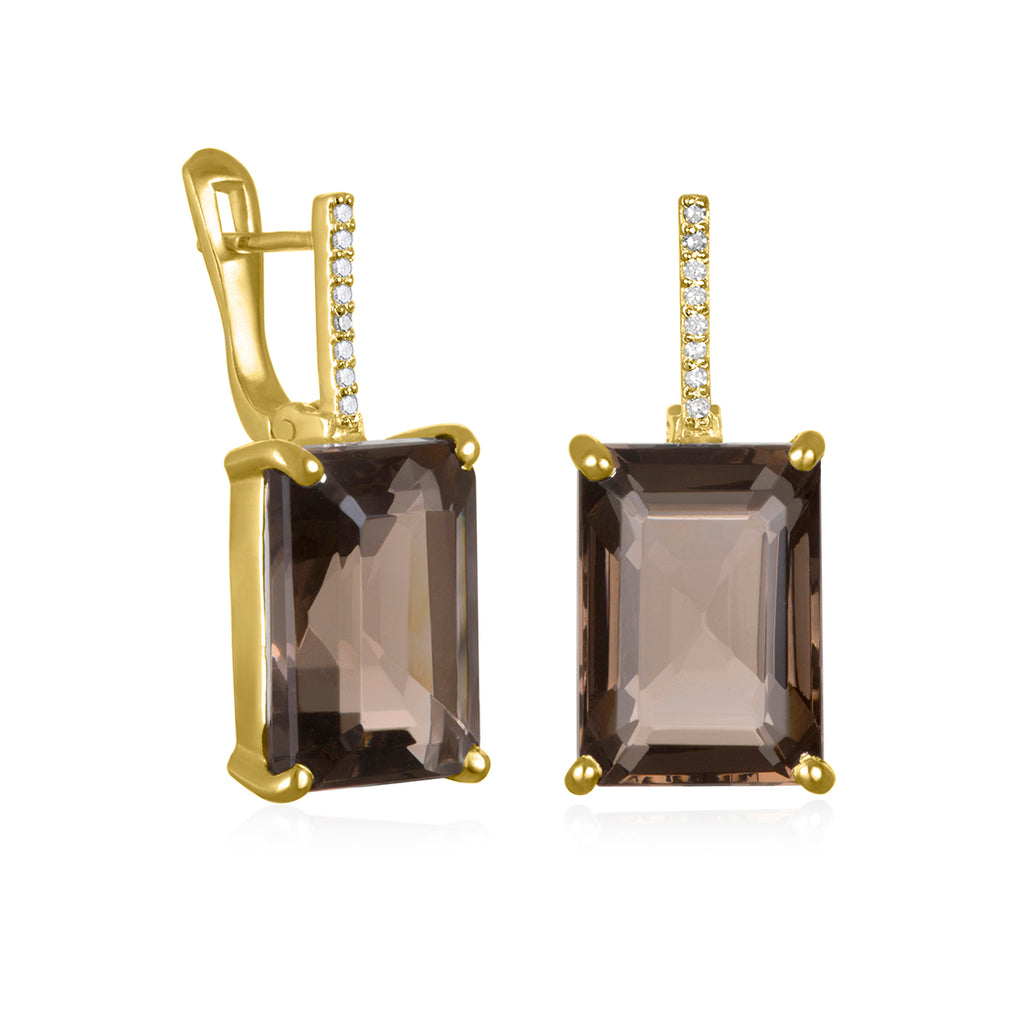 Charleston Diamond Emerald Cut Earring-  Smoky Quartz Gold