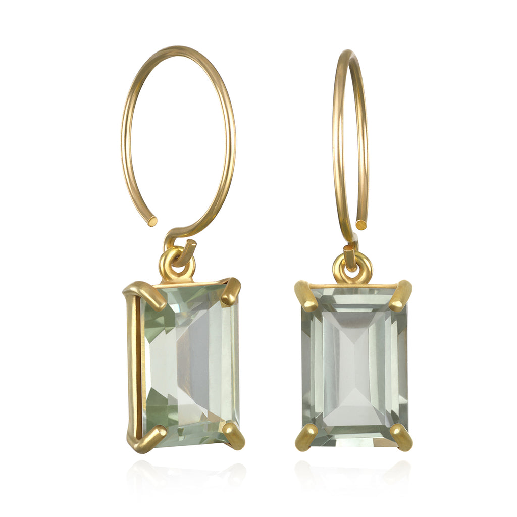 Chatham Earring-Green Amethyst Gold