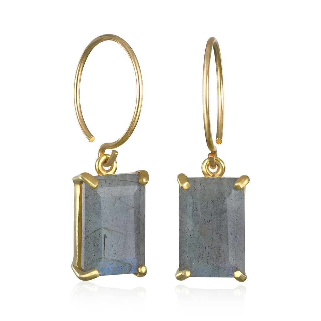 Chatham Earring-Labradorite Gold