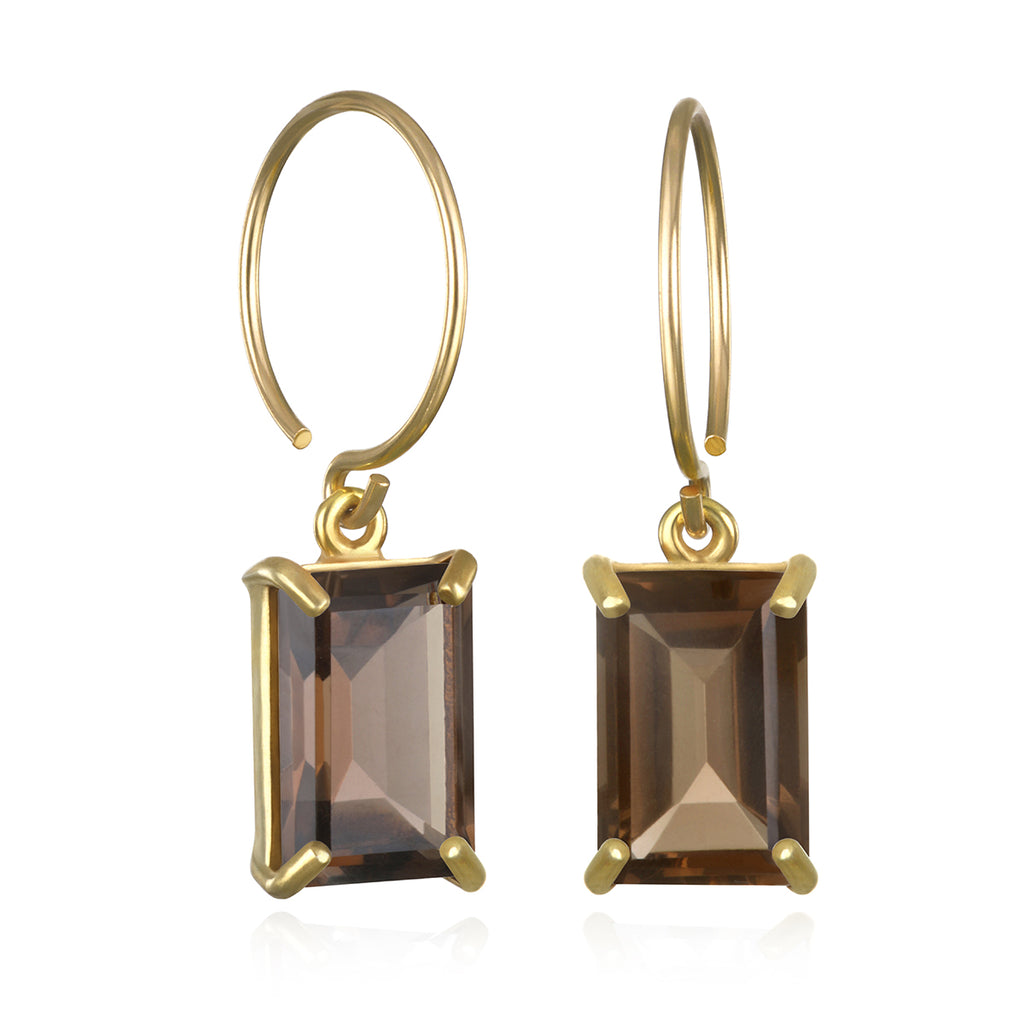 Chatham Earring-Smoky Quartz Gold