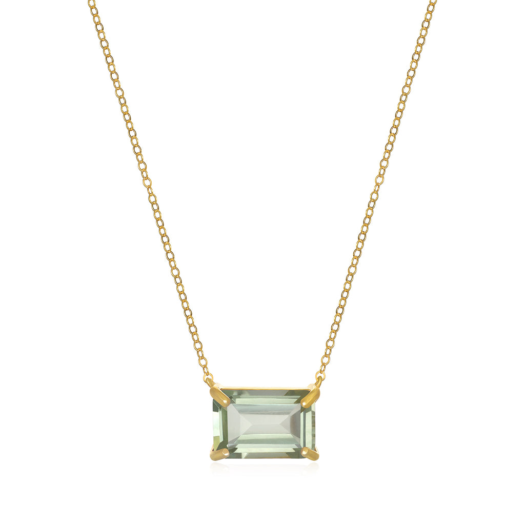 Chatham Necklace-Green Amethyst Gold