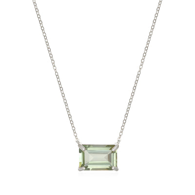 Chatham Necklace-Green Amethyst Silver