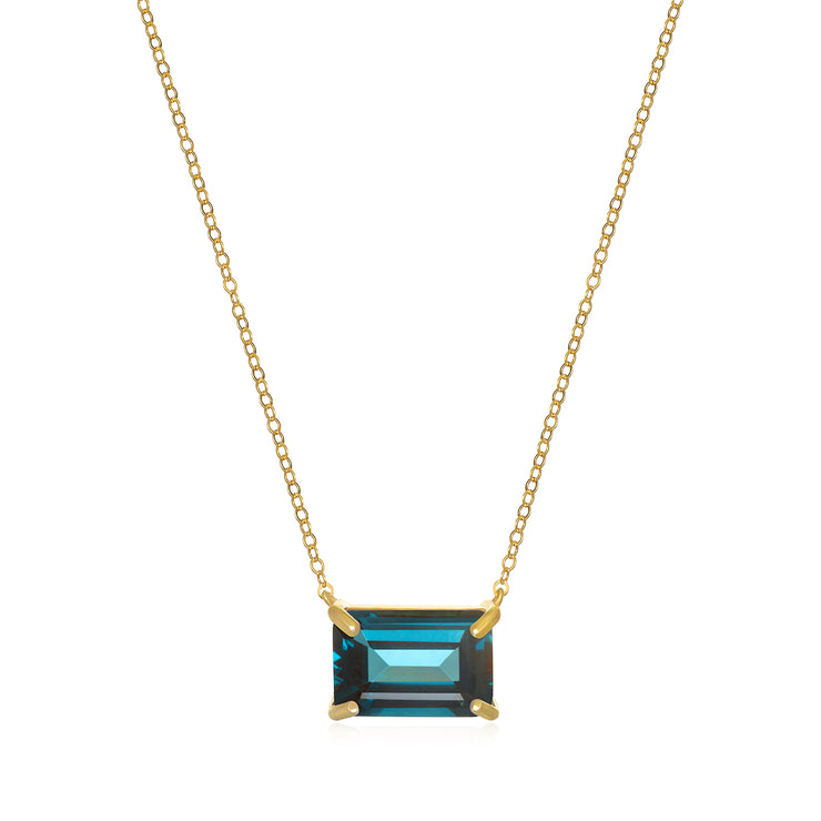 Chatham Necklace-London Blue Topaz Gold