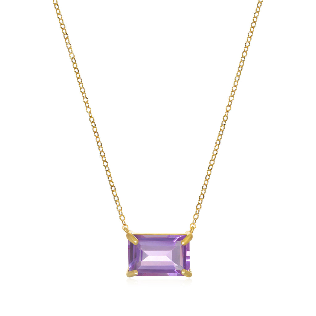 Chatham Necklace-Pink Amethyst Gold