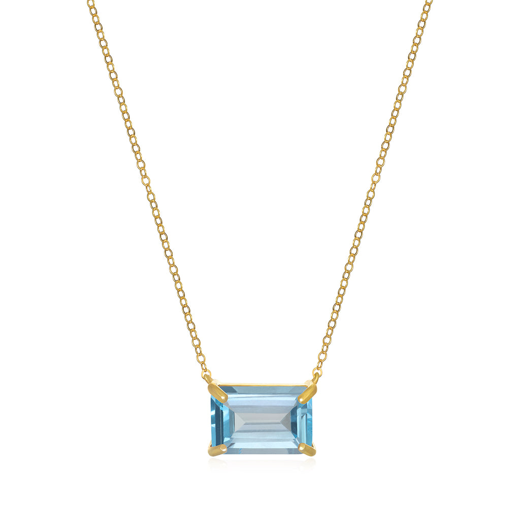 Chatham Necklace-Sky Blue Topaz Gold