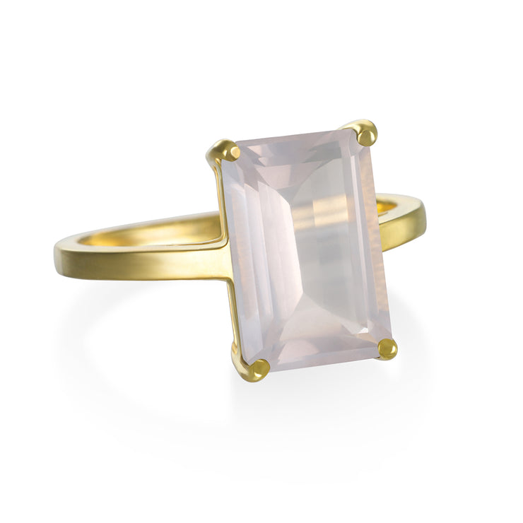 Chatham Ring-Rose Quartz Gold