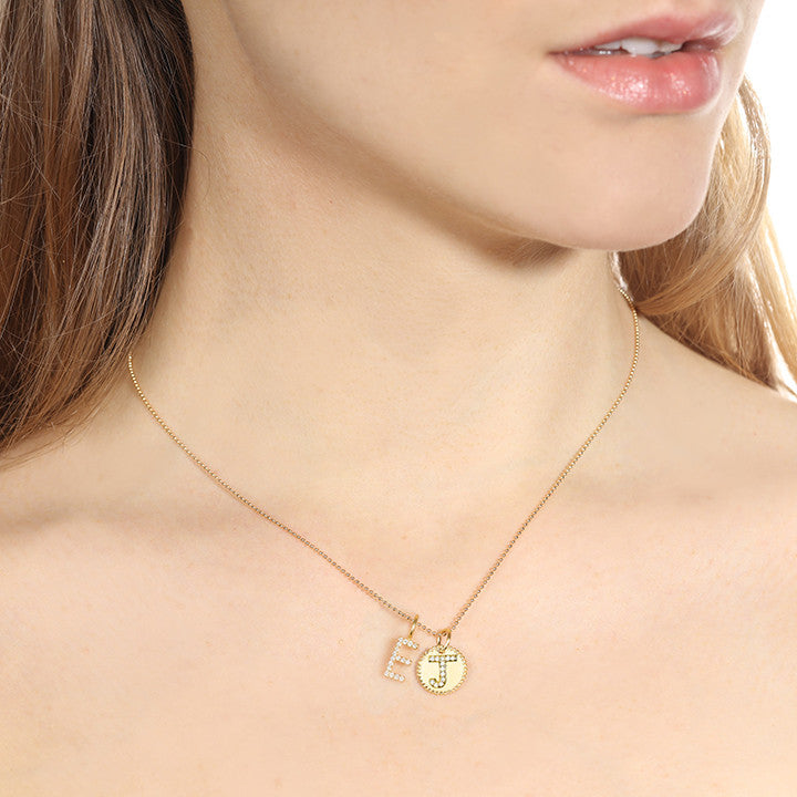 Diamond Beaded Initial Charm Necklace Gold