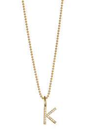 Diamond  Letter Charm Necklace Gold