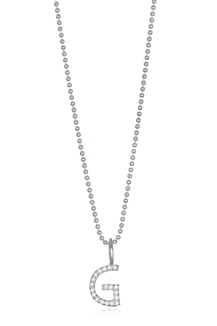 Diamond Letter Charm Necklace Silver