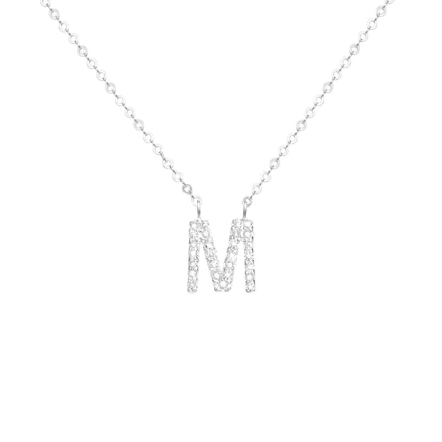 Diamond Initial Necklace-Silver