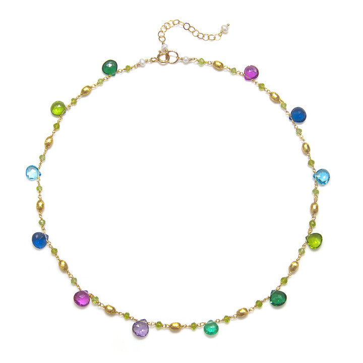 Cabo Quartz Necklace-Multi Color Gold