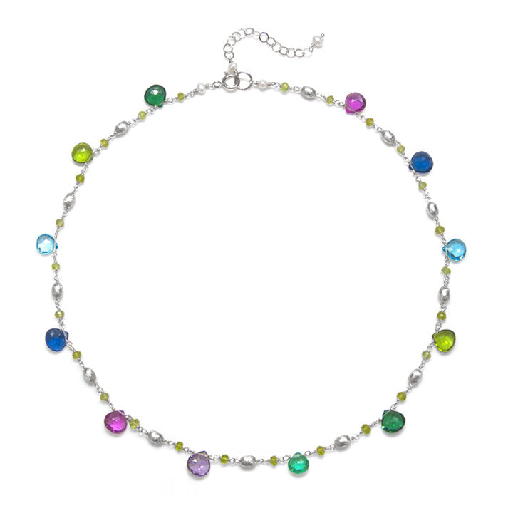 Cabo Quartz Necklace-Multi Color Silver