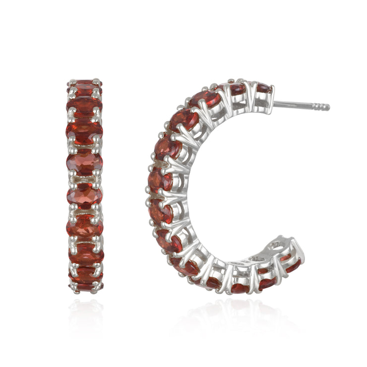 Gemstone Hoops-Silver