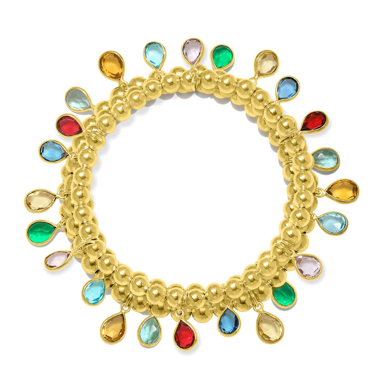 Teardrop greens bracelet gold
