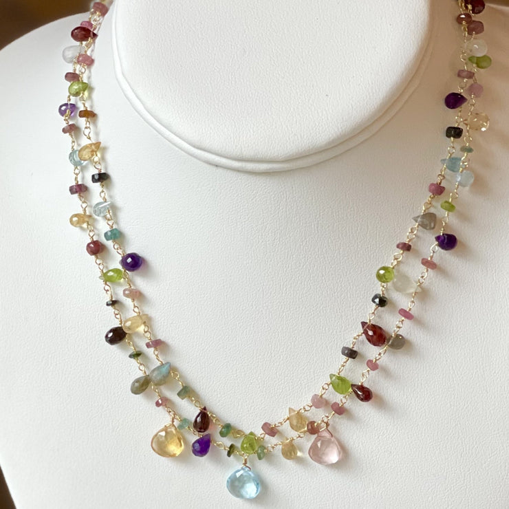 Layered Wildflower Necklace with Spring Gems