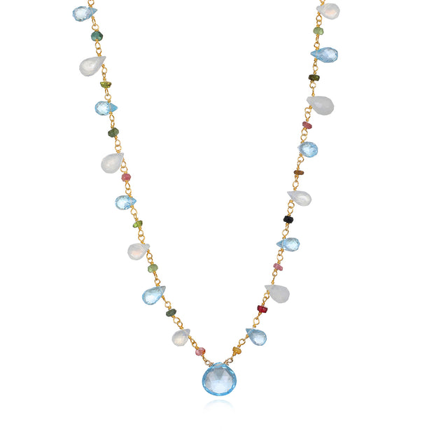 Wildflower Statement Necklace-Blue Topaz