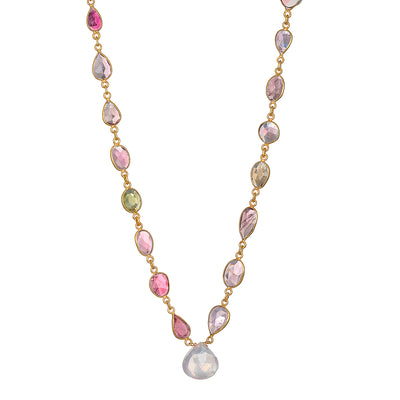 Tourmaline and Rose Quartz Statement Necklace