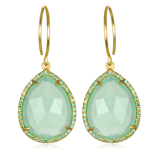 Paris Gem Teardrop-Mint Green Gold