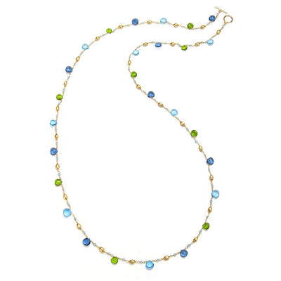Long Cabo Quartz Necklace-blue and green