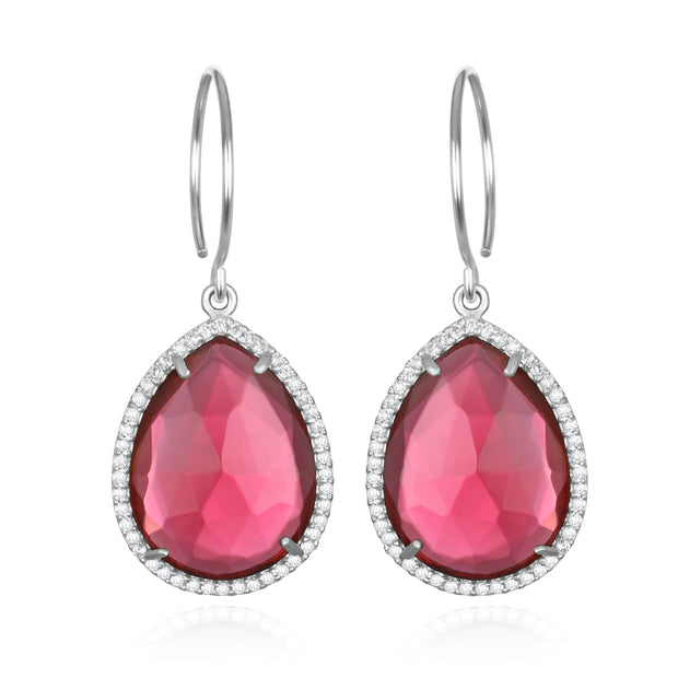 Paris Gem Teardrop - Ruby with Clear Silver