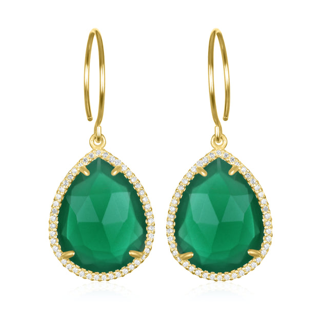 Paris Gem Teardrop - Emerald with Clear Gold