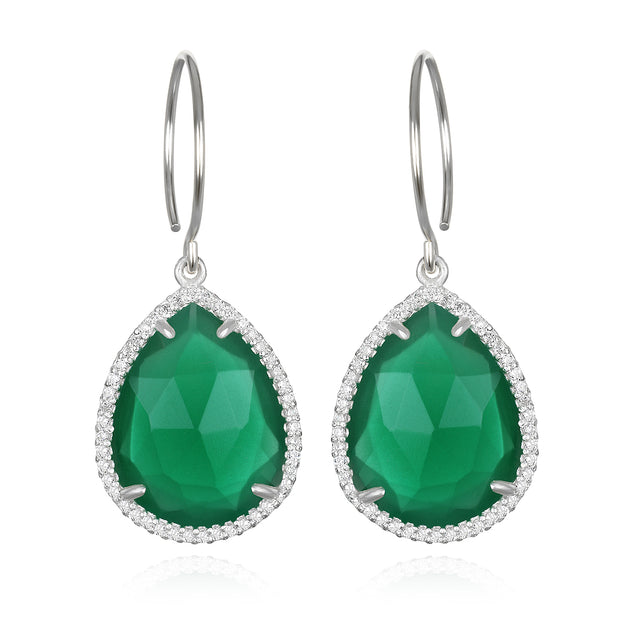 Paris Gem Teardrop - Emerald with Clear Silver