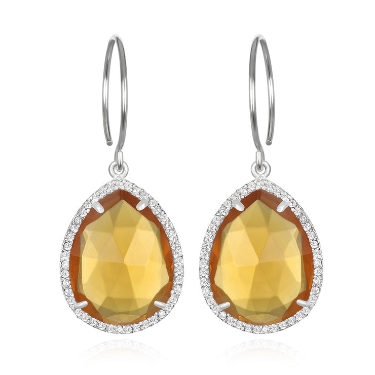 Paris Gem Teardrop - Sunflower with Clear Silver