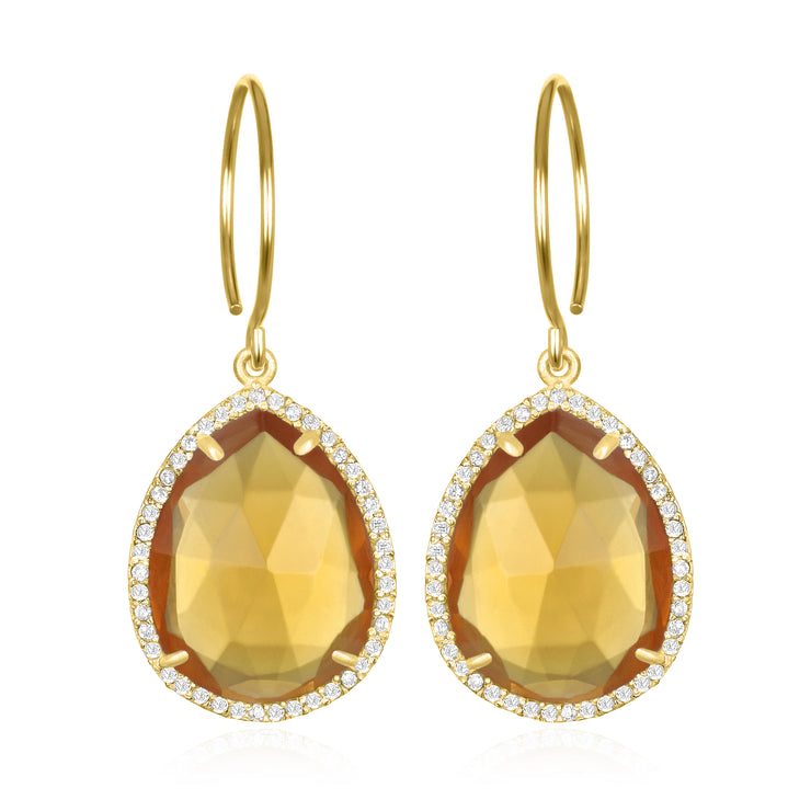 Paris Gem Teardrop - Sunflower with Clear Gold