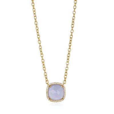 Paris Cushion Necklace - Purple Gold