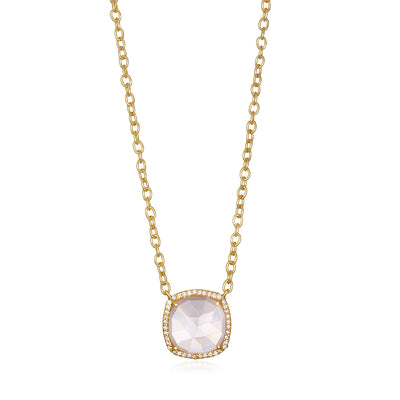 Paris Cushion Necklace - Pink Peony Gold