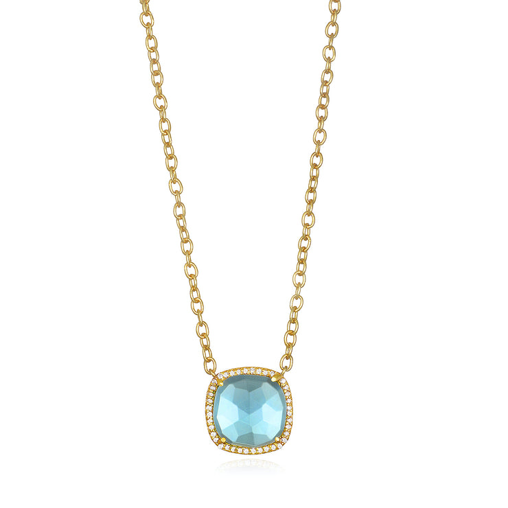 Paris Cushion Necklace - Sky Blue Gold