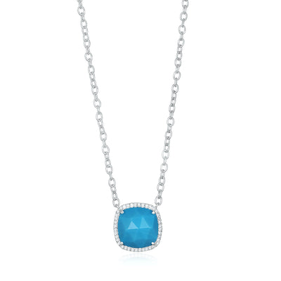 Paris Cushion Necklace - Turquoise Silver