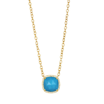 Paris Cushion Necklace - Turquoise Gold