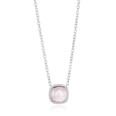 Paris Cushion Necklace - Pink Peony Silver