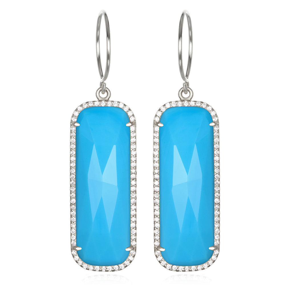 Paris Grand Earring - Turquoise Clear Silver