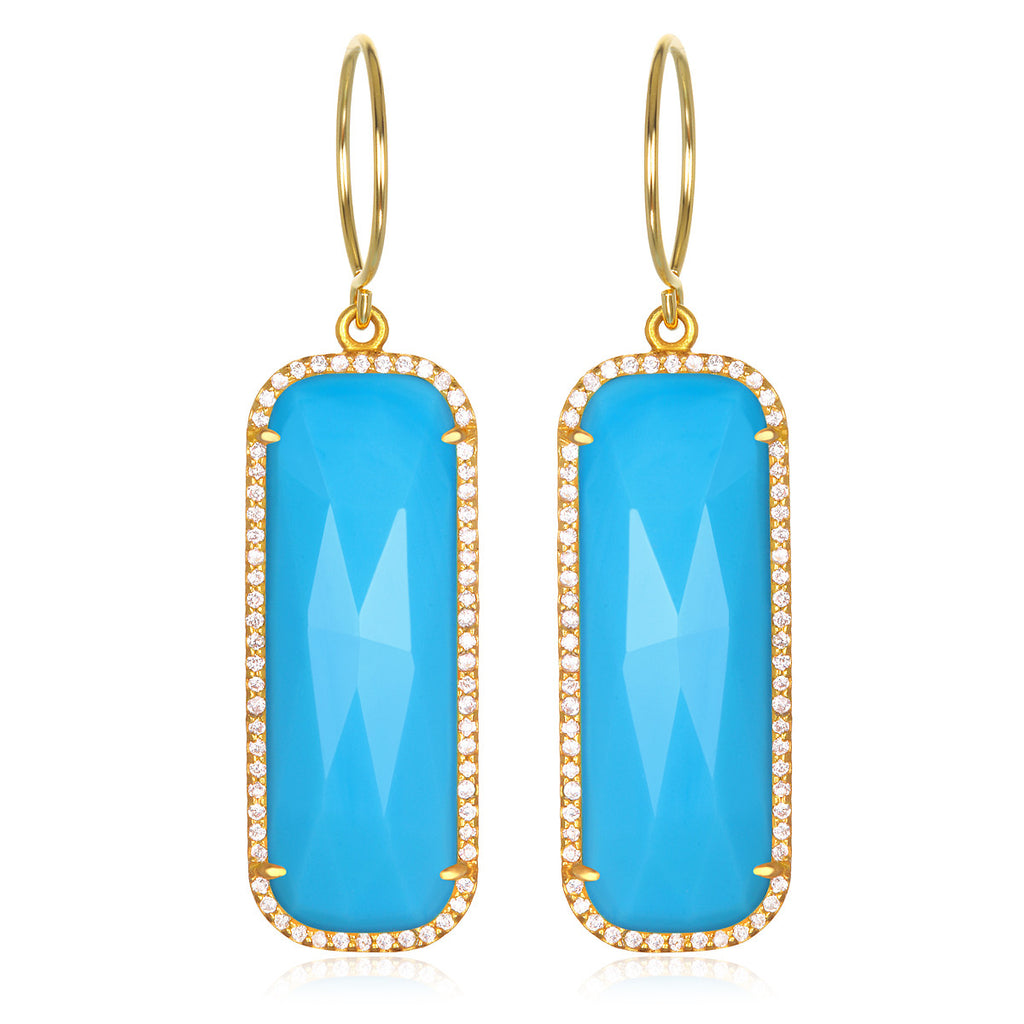 Paris Grand Earring - Turquoise Clear Gold
