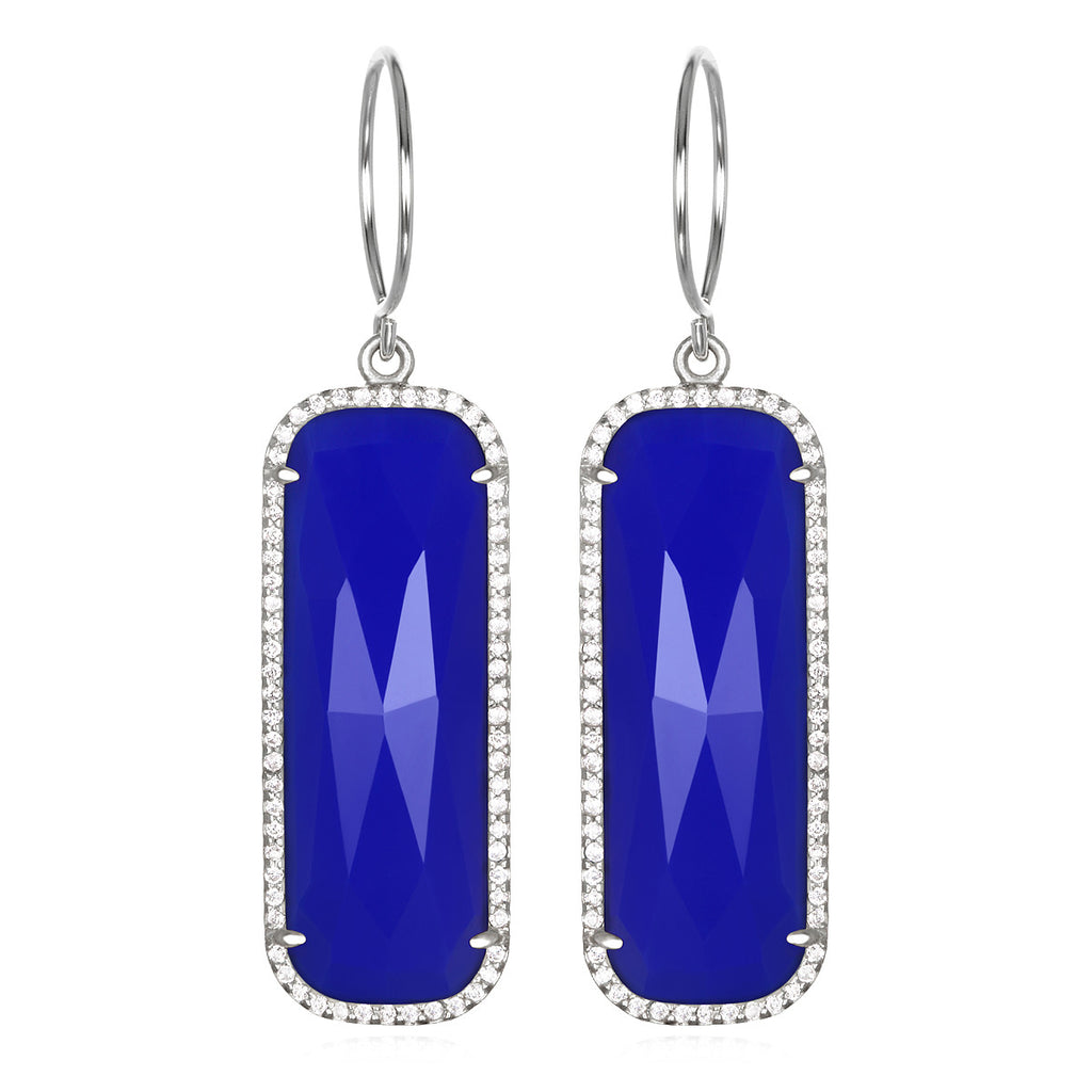 Paris Grand Earring - Dark Blue Clear Silver