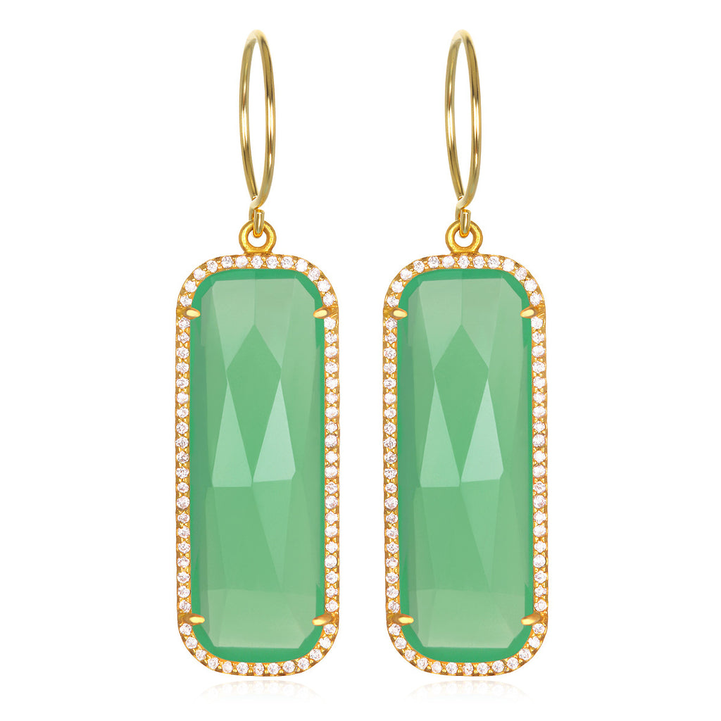 Paris Grand Earring - Mint Clear Gold