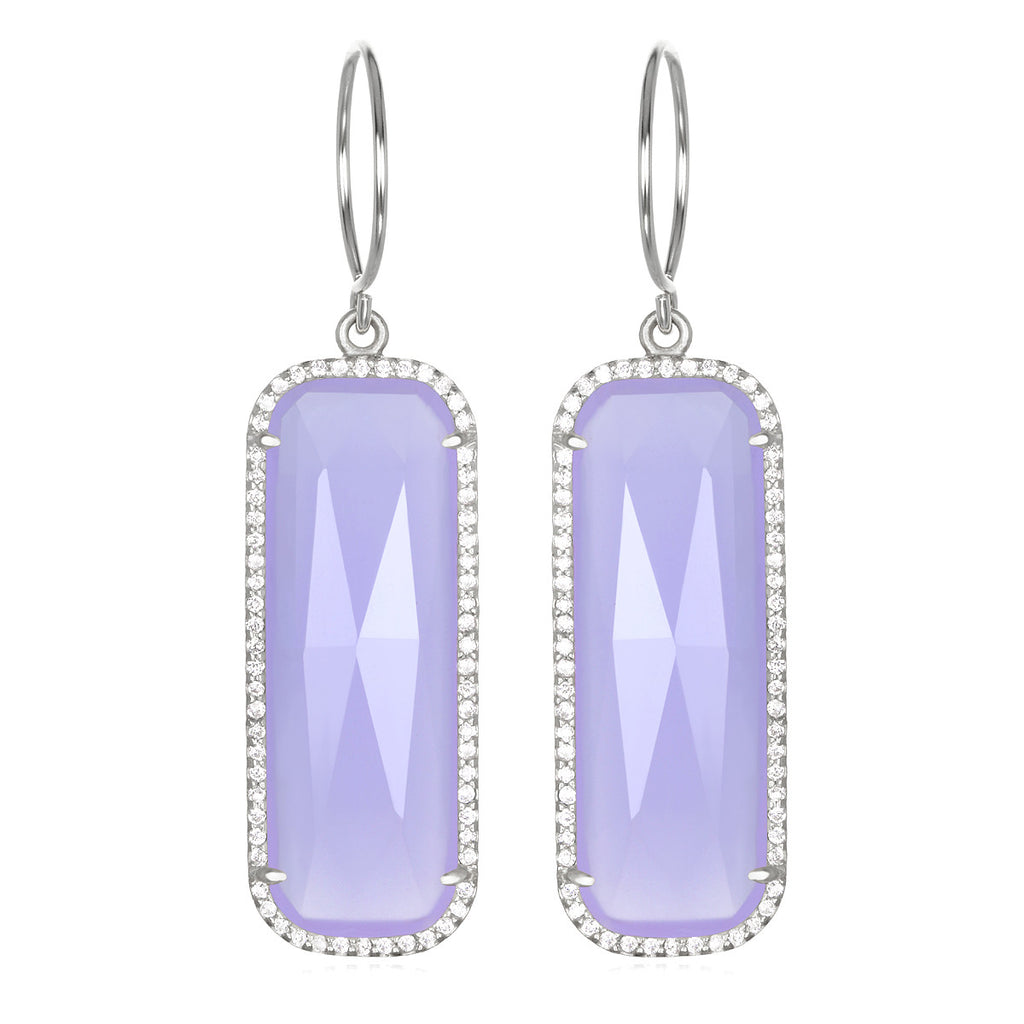 Paris Grand Earring - Purple Clear Silver