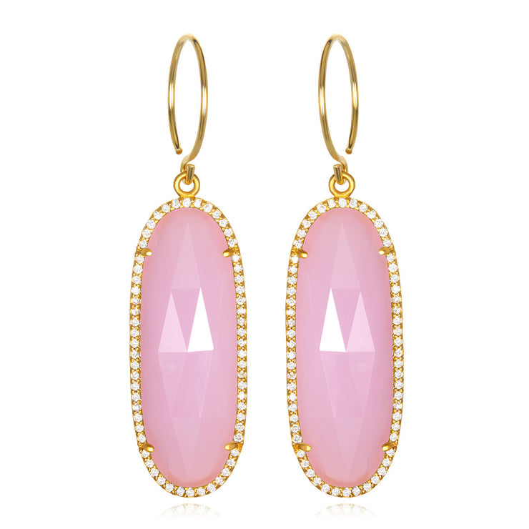 Paris Grand Oval Earring - Pink Clear Gold