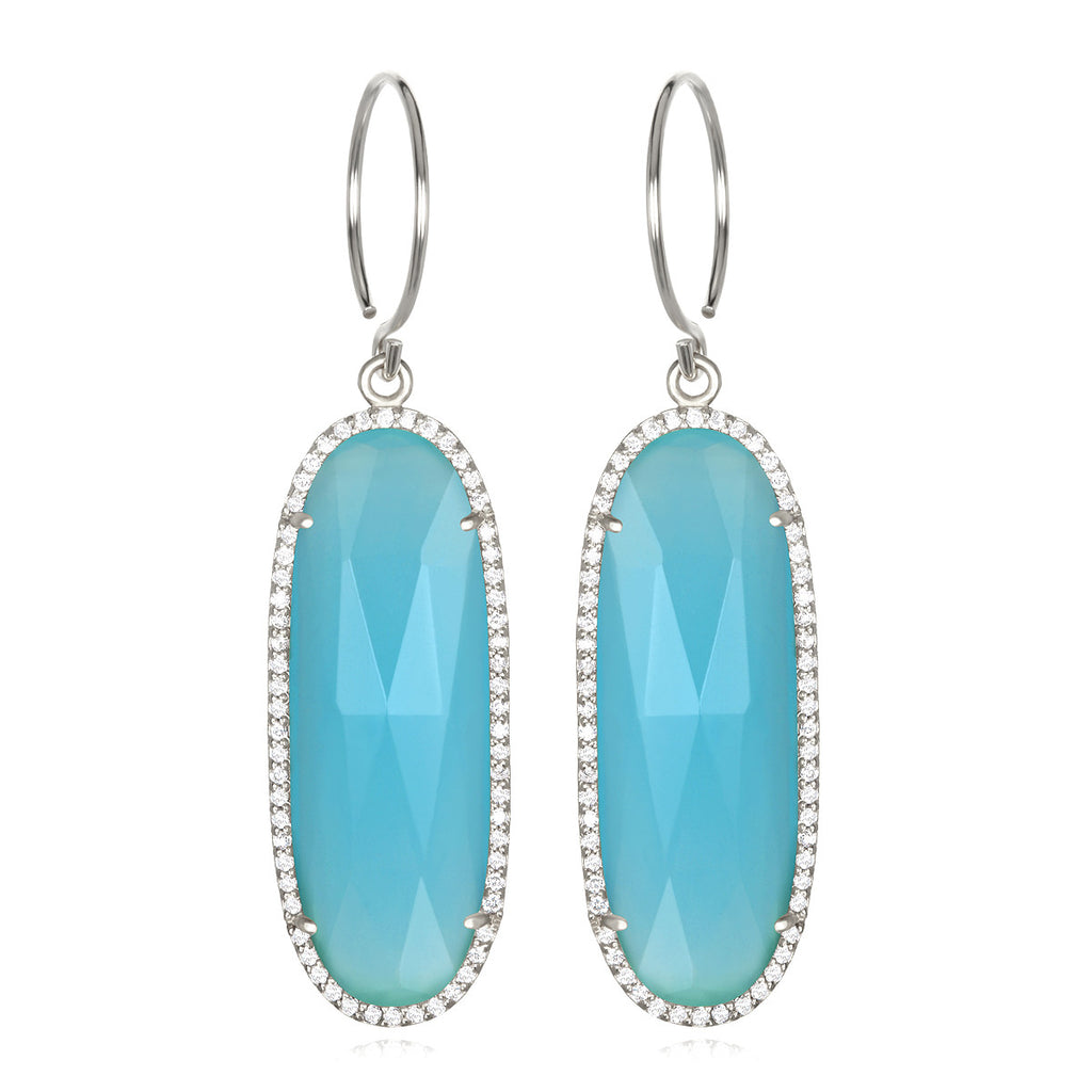 Paris Grand Oval Earring - Light Blue Clear Silver
