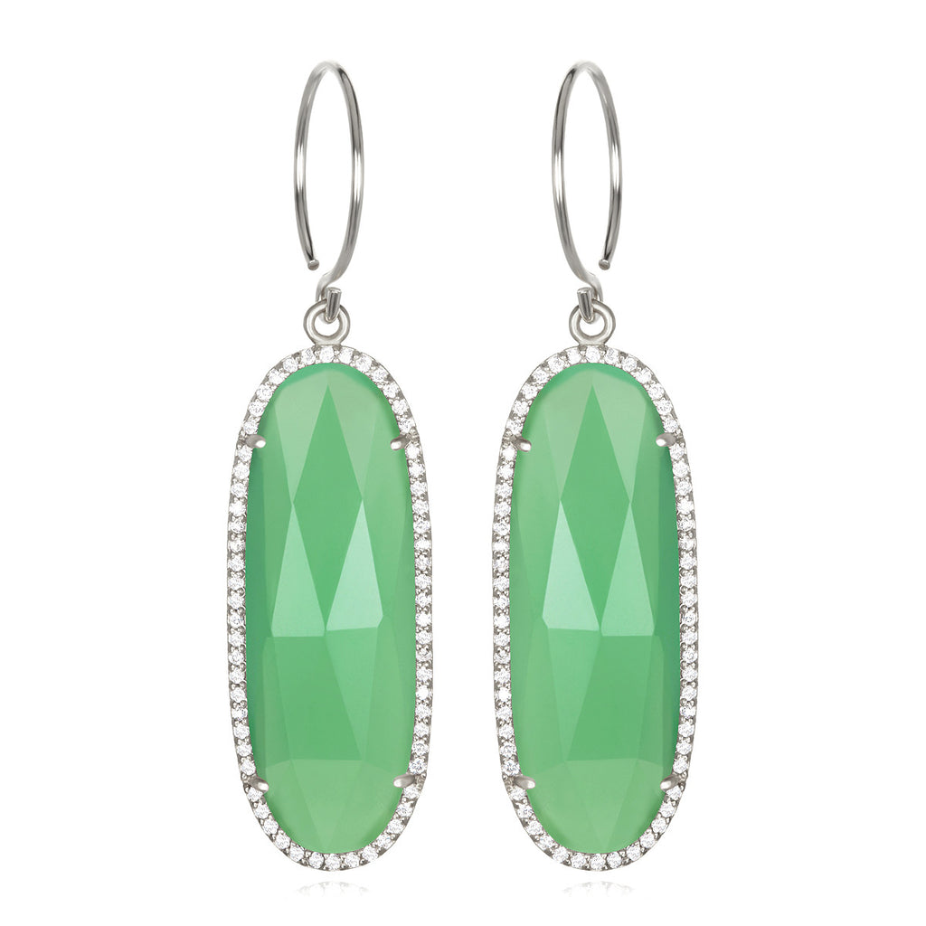 Paris Grand Oval Earring - Mint Clear Silver