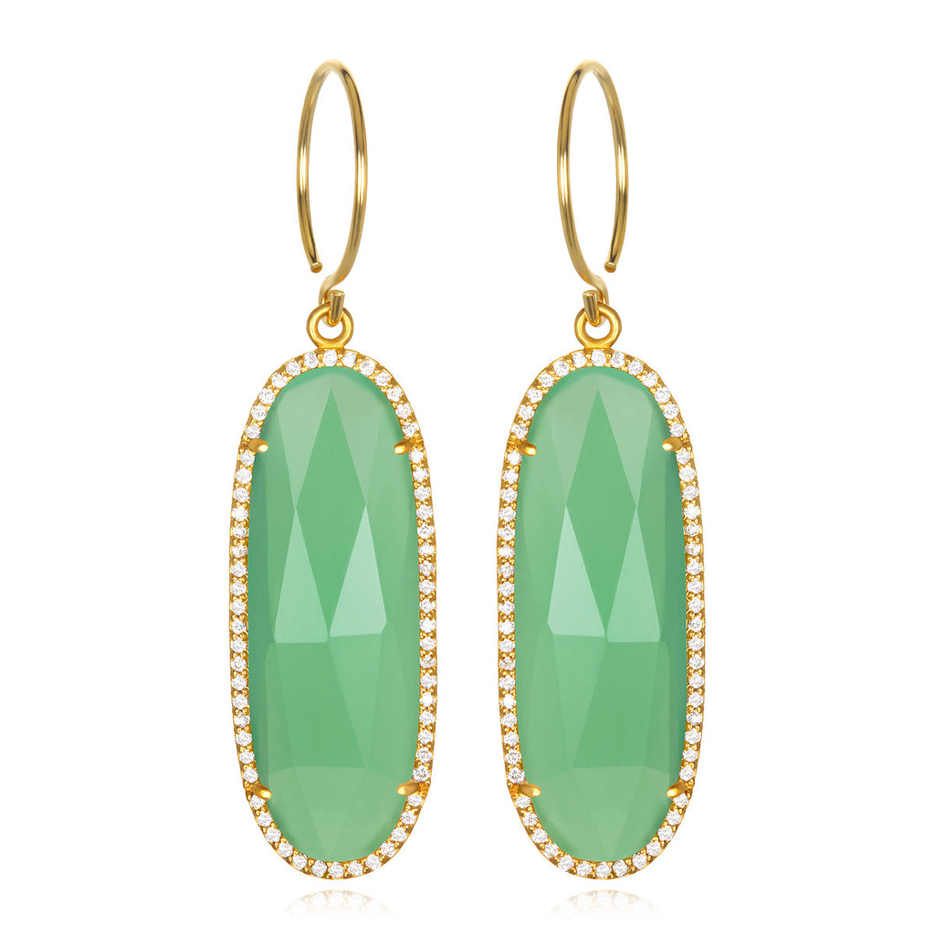 Paris Grand Oval Earring - Mint Clear Gold
